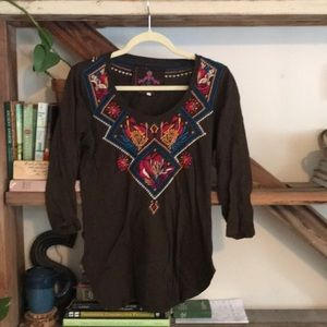 JOHNNY WAS cotton embroidered tunic/ shirt